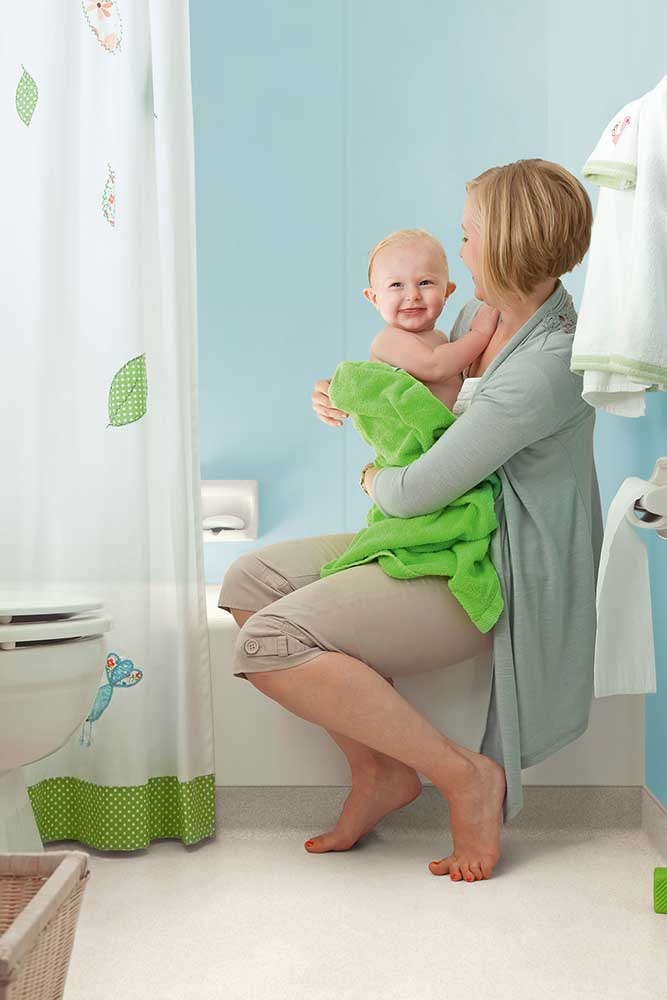 lady with baby on altro whiterock flooring